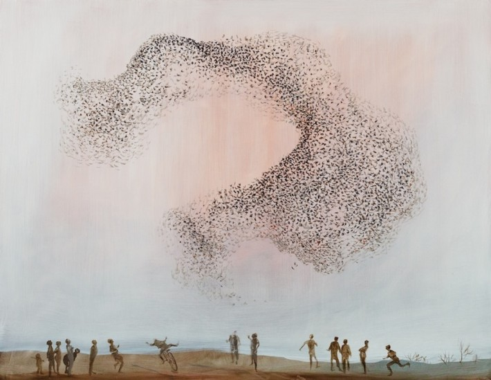 A Flock of Starlings 121x157cm