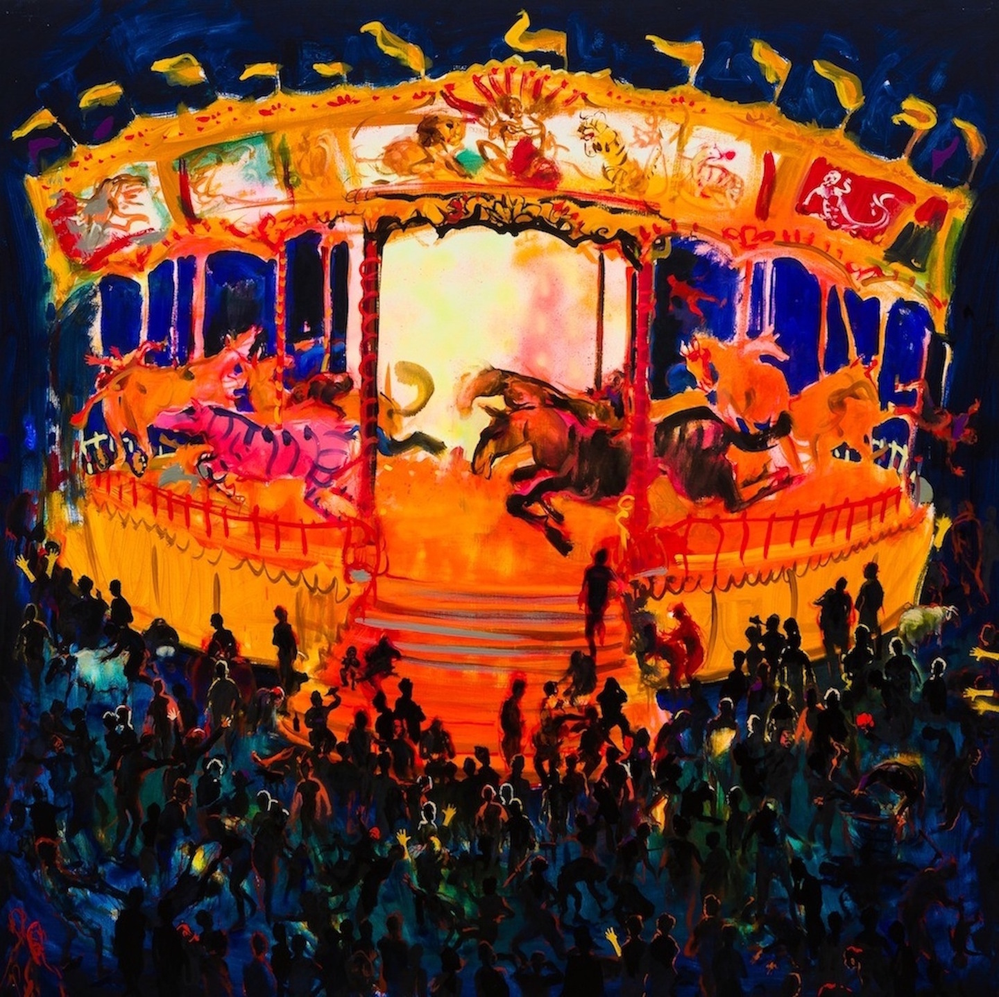 Carousel with Capital Crimes (oil on linen). 183x183cm