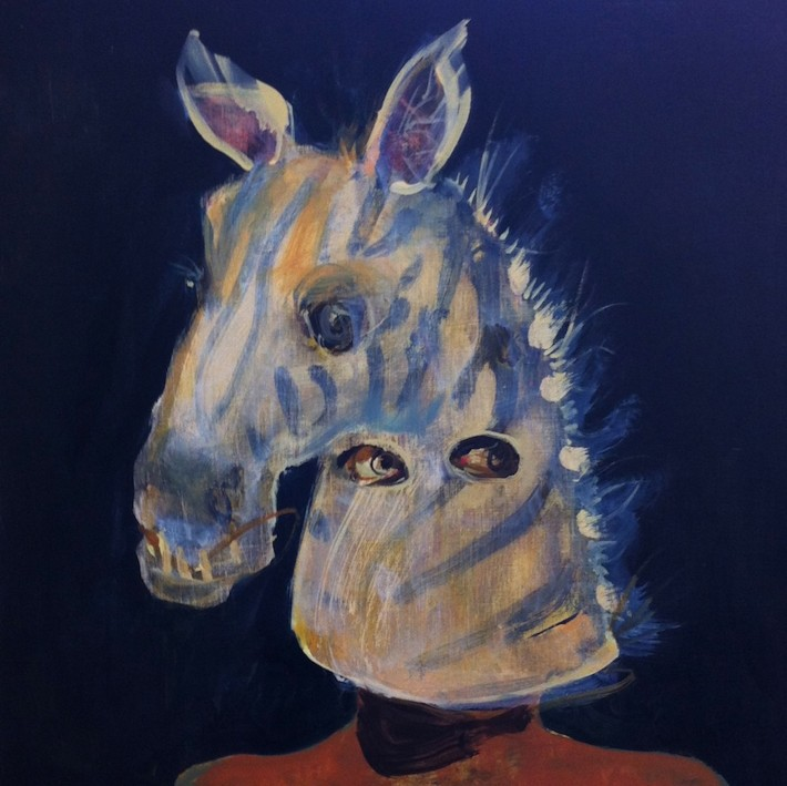 Zebra Head (oil on wood 50x50cm)