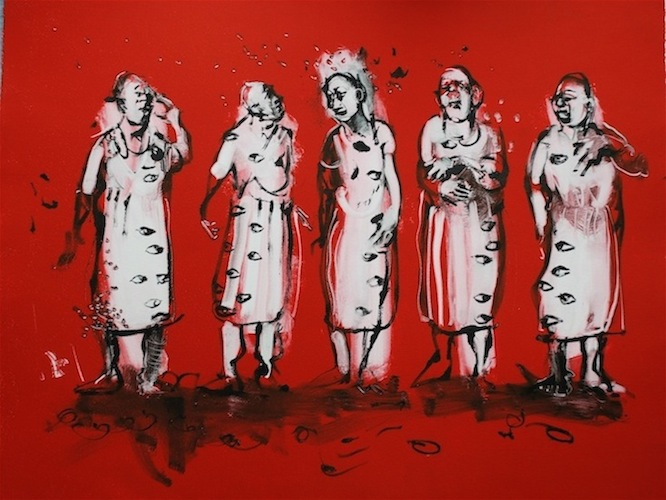Men in Dresses (monoprint)60x75cm